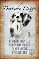 Deutsche Dogge Hund Dog Blechschild Schild gewölbt Metal Tin Sign 20 x 30 cm