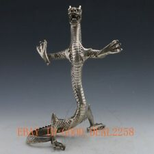 Chinese Silver Copper Handwork Carved Dragon Statue