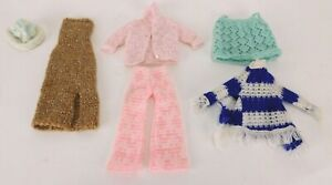 """Vintage Hand Knit Sweaters, Pants, Dress & Hat for 11 1/2"""" Barbie Doll 6 Pieces"""