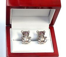 DE GRISOGONO Ruby & 18k White Gold Baby Bear Cufflinks #E