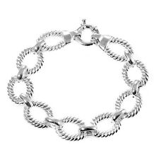 """New Hollow Sterling Silver 8"""" Oval Shape Rope Chain Link Bracelet 15.3 g 15.5 mm"""