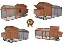 "Deluxe 96"" Wheeled Tractor Hen House Chicken Coop Poultry Hutch Large Backyard"