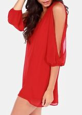 Women's Classy Cocktail Dress Hi-lo Assymetric Hem Cut Out Sleeve New 2XL Red