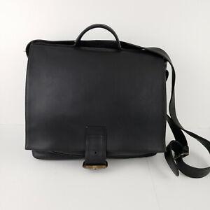 Vintage Village Tannery Sevestet Black Leather Messenger Briefcase Bag New York