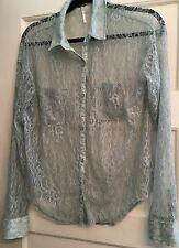 FREE PEOPLE SHEER LACE BLOUSE~SZ SP~GREEN BUTTON DOWN SLOUCHY/LONG SLEEVE~CUTE!!