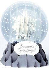 3d Pop up Holiday Snowflakes Medium Snowglobe Christmas Card