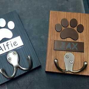 Personalised Double Dog Lead Hook - Wood, Black or Oak