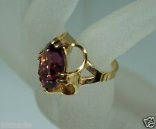 VINTAGE 18K GOLD PLATED OVAL AMETHYST VICTORIAN STYLE RING SIZE 5