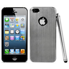 Silver Aluminum Brushed Chrome Hard Phone Case Cover For iPhone 5 5S Stylus Pen