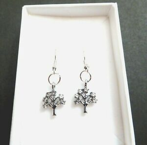 Tree of Life Crystal Silver plated Earring in gift box Mother's Day Birthday