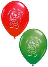 16 x Merry Christmas Balloons Santa latex mix of red & green FREE P&P