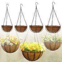 Metal Hanging Planter Basket with Pot Coconut Coir Husk Flower Sales