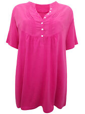New Ladies S.Oliver Pink Blouse Pure Cotton Pintuck Smock Top Plus Size 18-28