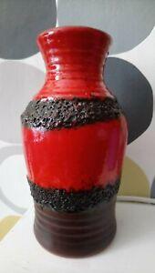 RETRO West German Pottery Vase BAY 630 02  RED LAVA VASE
