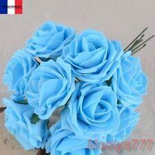 ** ROSES mousse bleu 7 cm**fleur artificielle.décoration baptême, mariage.