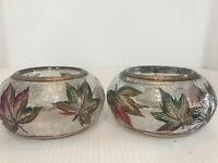 Yankee Candle Fall Autumn Leaves Crackle Votive Tealight Holder Fall Colors