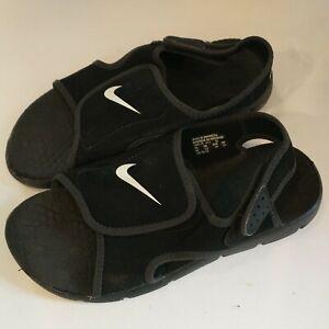Nike Youth Big Kids Black Kawa Slip On Slides water summer adjustable sz4Y