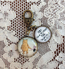 "POOH AND PIGLET ~ FRIENDS Glass Charm Filigree Brass 1"" ZIPPER PULL Key Ring"