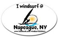 "I Windsurf @ Napeague, Ny Bumper/Window Sticker Oval 3"" X 5"""