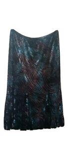Fosby design Womens velour Skirt Size UK 16 teal mix soft feel floaty midi