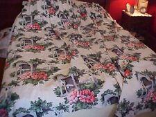 2 Vintage Barkcloth Drapery Panels w/ Pink Poppies