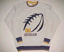 Michigan Wolverines Football Ncaa Big Ten Gray Blue Gold Fleece Sweatshirt 2Xl