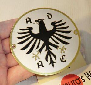 BLECHPLAKETTE ADAC vintage OVP Mitgliedsplakette AUFKLEBER BLECH 90mm TOPP A56