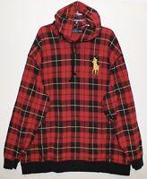 Polo Ralph Lauren Big & Tall Mens Red Plaid Gold Pony Hoodie Sweatshirt NWT 3XB