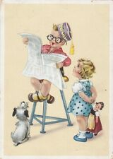 1950s FRITZ BAUMGARTEN BOy reads newspaper girl w/ doll dog old German postcard