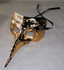 NEW~Black & Gold Long Nose Crow Paper Mache Mask Plague Doctor Halloween Gothic