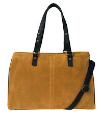 Large Rowallan Mustard Suede Leather Handbag, Tote bag, Shoulder Bag