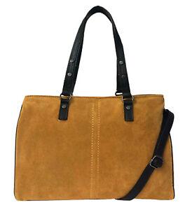 Over 50% Off Large Rowallan Mustard Suede Leather Handbag, Tote, Shoulder Bag