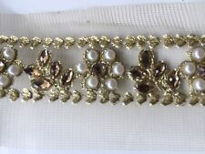 ATTRACTIVE INDIAN GOLD PEARL AND CRYSTAL FLOWERS ON NET TRIM/LACE -Sold by METER