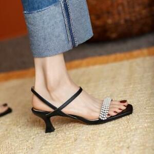 Womens 2021 Fashion Leather Pearl Beaded Slingback Kitten Heel Sandals Shoes SKG