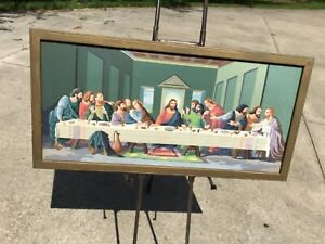 VINTAGE LAST SUPPER PAINT BY NUMBER. 33 X 16 INCHES  Framed