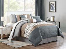 7-Pc Wylie Geometric Herringbone Comforter Set Slate Blue Gray Khaki White Queen