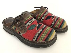 Born Southwest Women's 7 Red Tapestry Brown Leather Slip On Mules EU 38 / B-8617