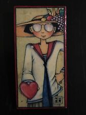"""Mary Engelbreit Wooden Decoupage Pin """"Love Wasn't Put In Your Heart To Stay�"""