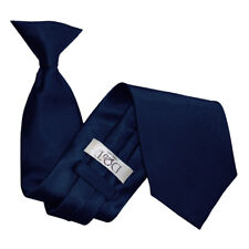 DQT Satin Plain Solid Navy Blue Waiter Security Funeral Clip on Tie