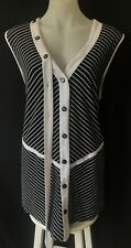 THE CLOTHING COMPANY Black/White Striped Top/Blouse Button Feature Plus Size M