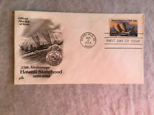UNITED STATES USA 1984 FDC ART CRAFT STATEHOOD HAWAII SHIP BOAT