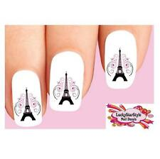 Waterslide Nail Decals Set of 20 - Paris Eiffel Tower with Pink Scrolls & Swirls