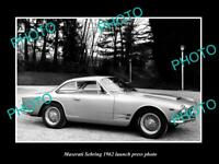 OLD POSTCARD SIZE PHOTO OF 1962 MASERATI SEBRING LAUNCH PRESS PHOTO