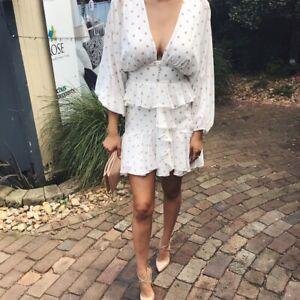 SHONA JOY Sophia Plunged Ruffle Mini Dress SZ 6 BNWT FREE POST (H89)