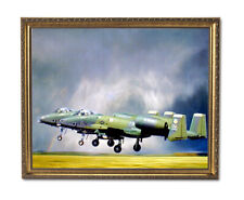 A-10 Thunderbolt Jet Airplane Wall Picture Gold Framed Art Print