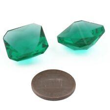 Lot (2) 18mm Czech vintage octagon faceted green flatback glass rhinestones