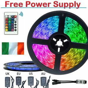 5m RGB LED Strip Light 2835 12v Power Supply 24 Key Remotr Control Full Kit Set