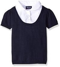 Girls' Short Sleeve Faux Layered Uniform Sweater, Tidal, XS
