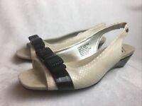 Anne Klein iflex Women's 7.5 M Black Tan Heels Pumps Slingback Peep Toe Shoes
