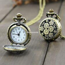 2.5cm Steampunk Chrysanthemum Flowers Hollow Bronze Pocket Watch Quartz Pendant